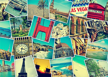 Collage made of Photos taken from around the world showing international sights
