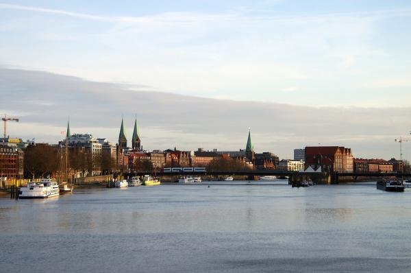 bremen cities city panorama weser