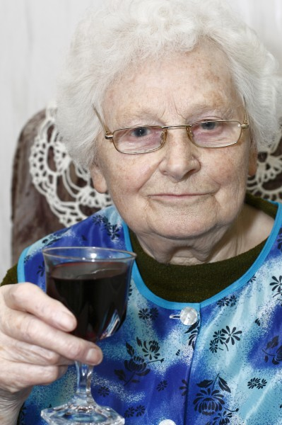 granny with wineglass