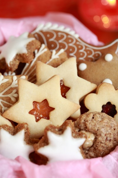 detail of christmas cookies