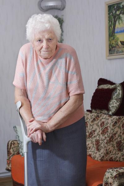 granny with crutch