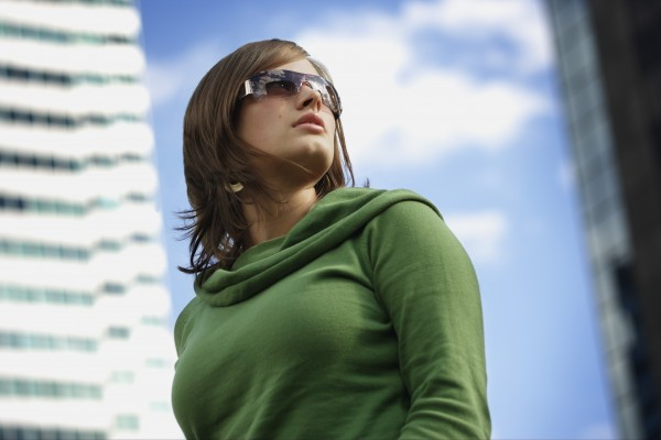 woman with trendy sunglasses
