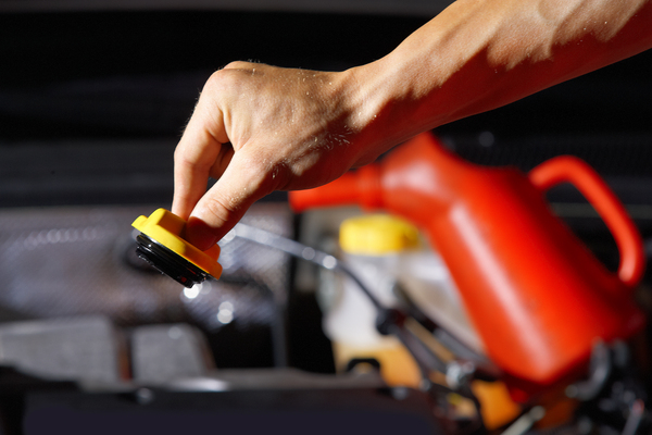 car mechanic checking the engine oil
