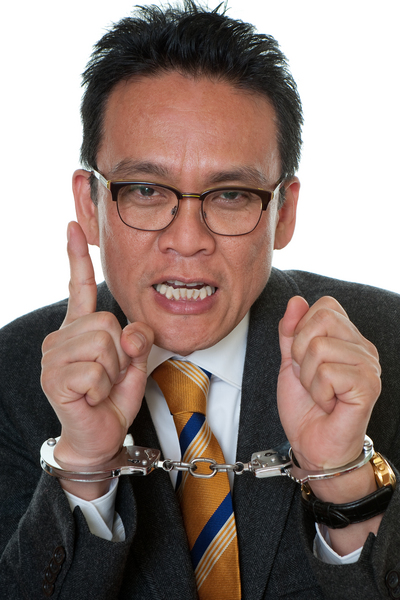 manager with handcuffs