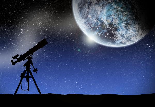 telescope under a space lanscape