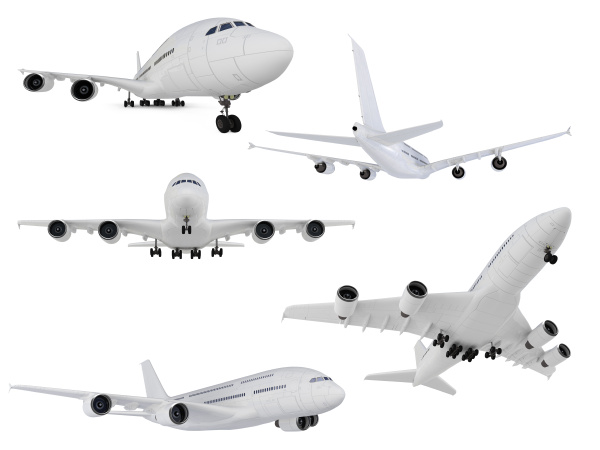 collage of isolated airplane