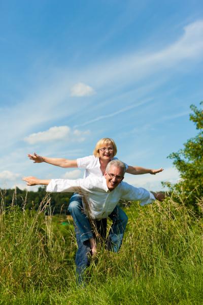 happy couple having fun in nature