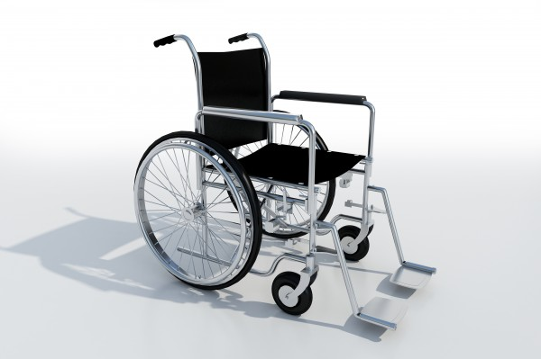 black and metal wheelchair