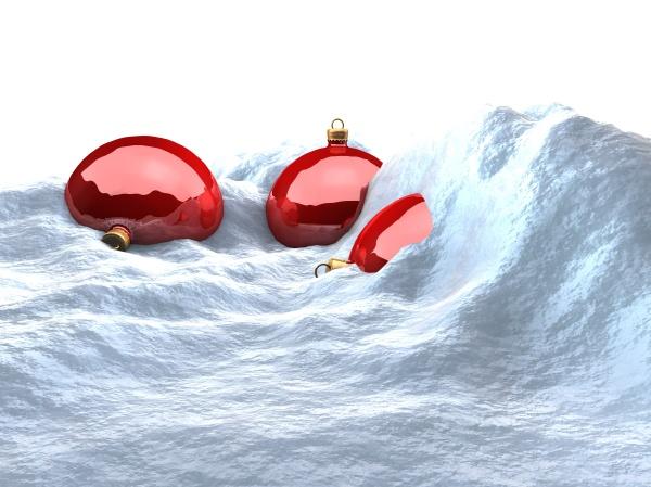 chrismas balls in the snow
