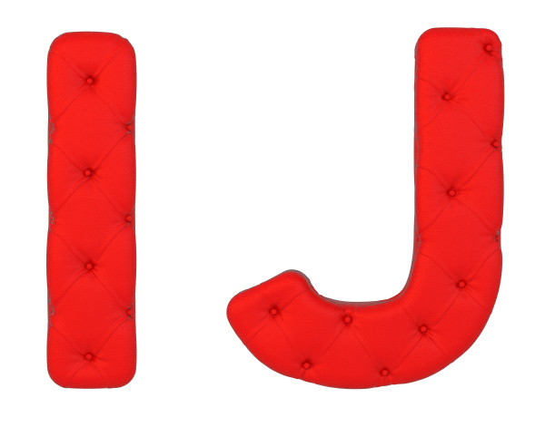 luxury red leather font i j