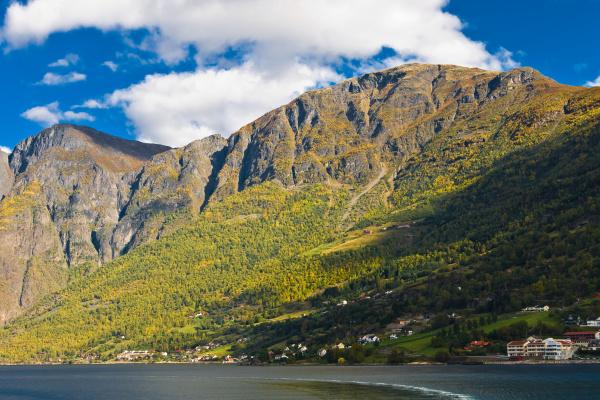 norwegian fjords mountains blue sky