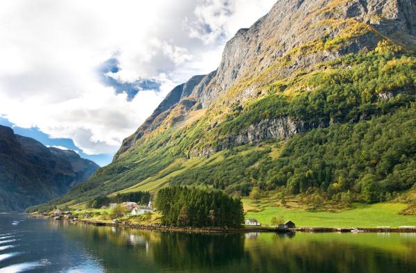 norwegian fjords mountains village
