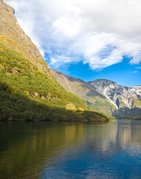 norwegian fjords in autumn mountains and