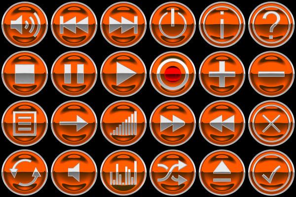 round orange control panel buttons