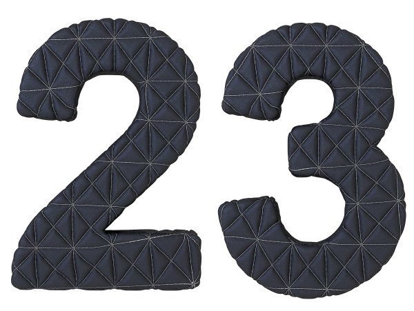stitched leather font 2 3 numerals