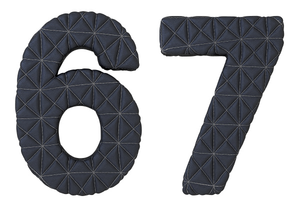 stitched leather font 6 7 numerals