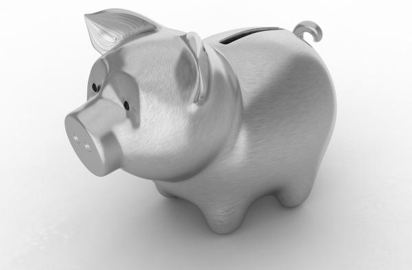 wealth silver piggy bank over white