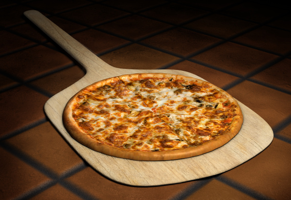 pizza on a wooden peel