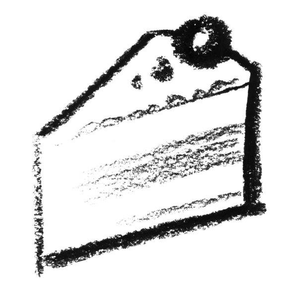 sketched piece of cake