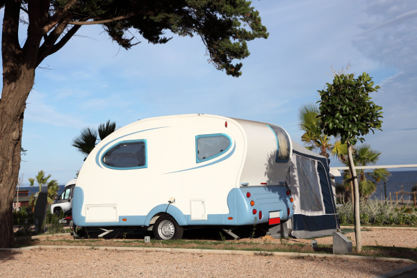 small, caravan, on, a, camping, site - 8039724
