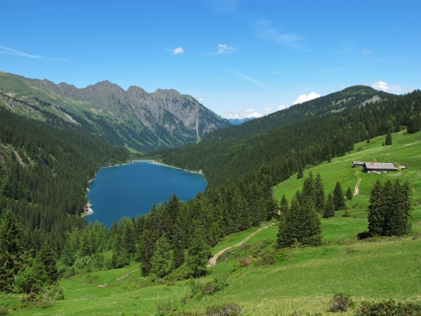 beautiful blue mountain lake in the