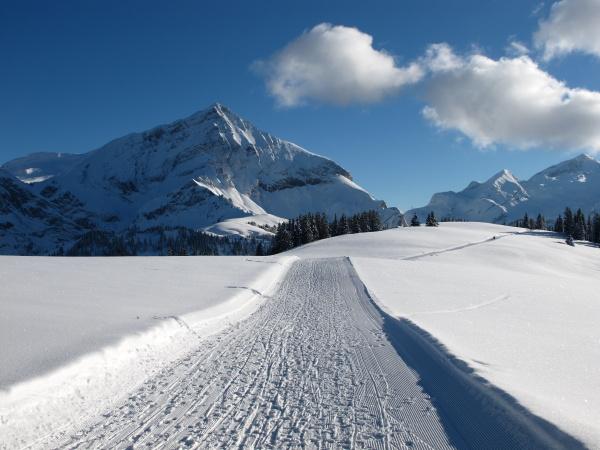 spitzhorn slope and clouds winter landscape