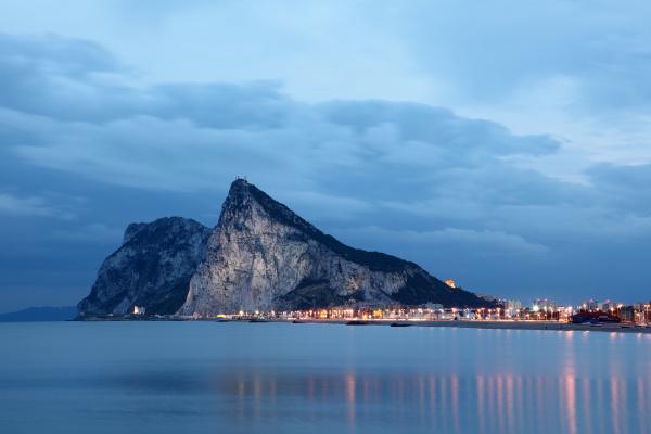 the rock of gibraltar at dusk
