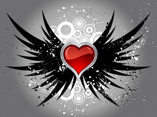 glossy heart on grunge wings