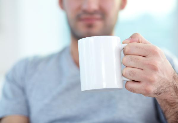 holding mug