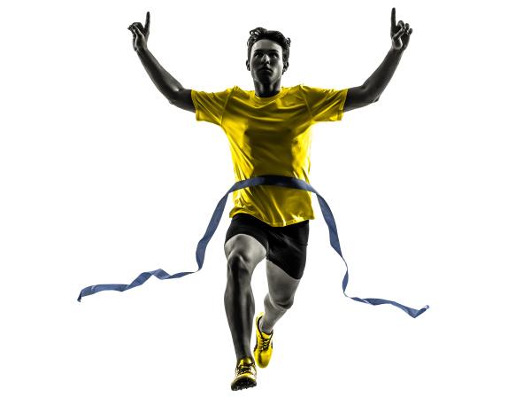 young man sprinter runner running winner