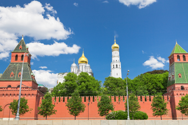 wall and cathedrals of moscow kremlin