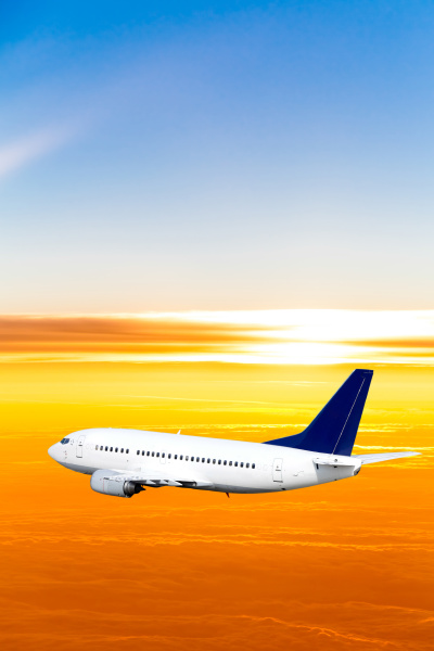 airplane, in, the, sky, at, sunset - 10026458