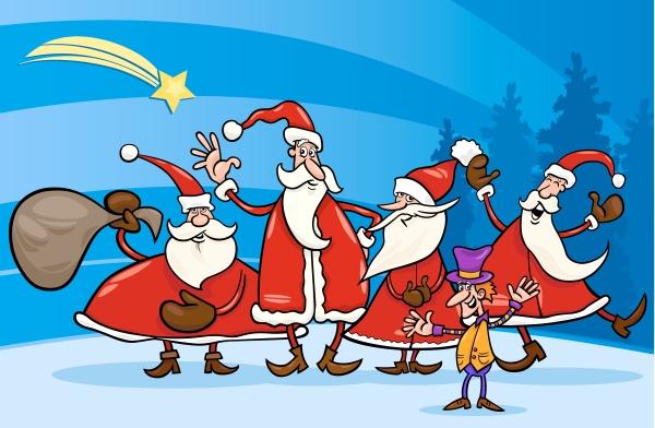 santa claus group cartoon illustration
