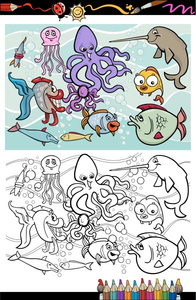 sea life animals group coloring book
