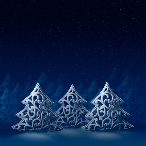 three white christmas trees