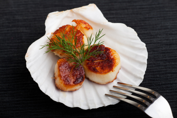 grilled scallops in the bowl