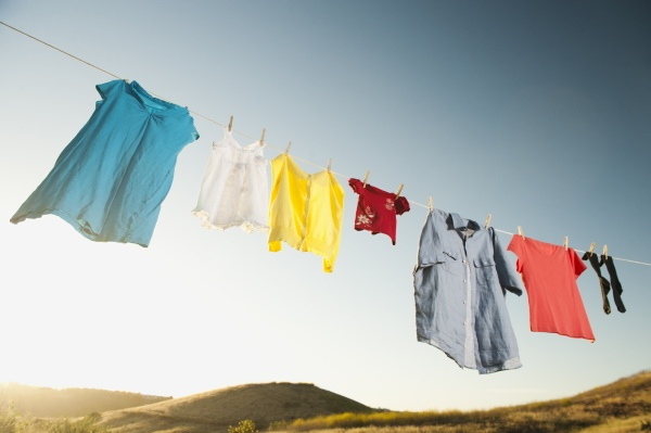 clothesline laundry hanging drying in a
