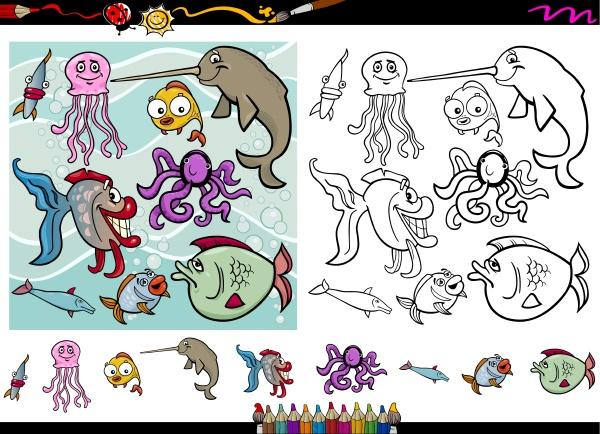 sea life cartoon coloring page set