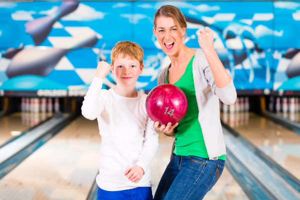 mother and child bowling