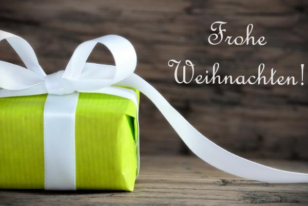 green present with frohe weihnachten