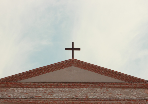 top of temple with cross and