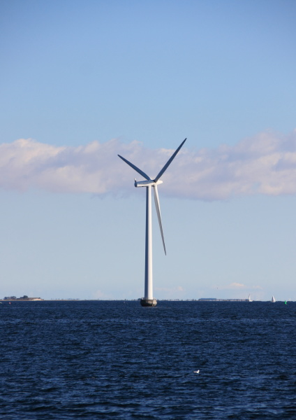 single sea windmill with dark blue