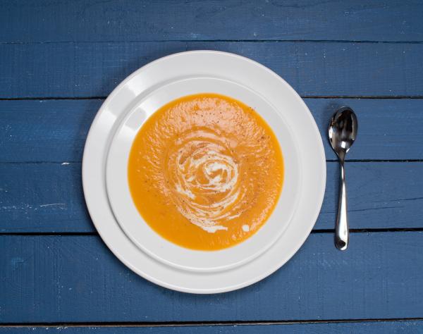 plate of pumpkin soup on a