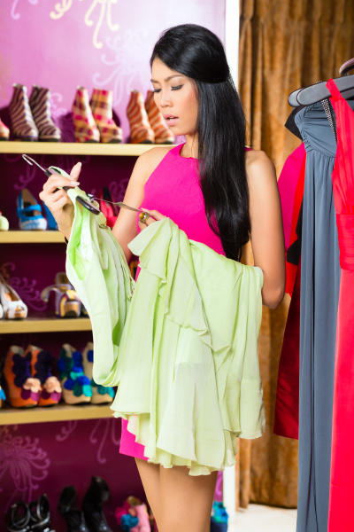 asian woman shopping dress in fashion