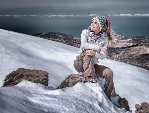enjoying winter mountains