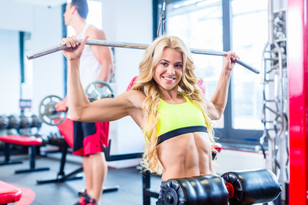 young woman at back fitness workout