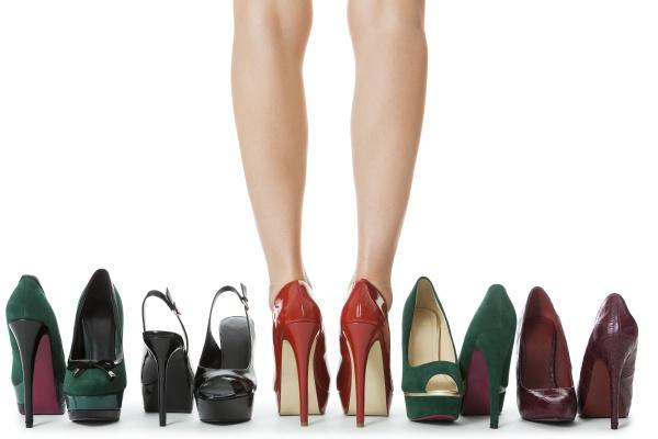 various pairs of high heels stilettos