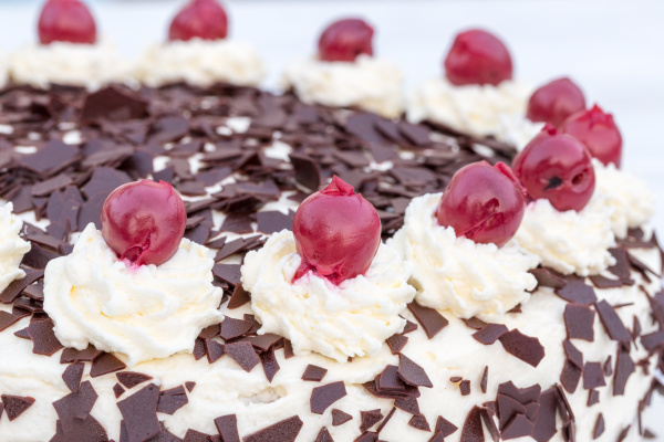 black forest cherry cake in detail