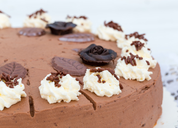 chocolate cream cake in detail with