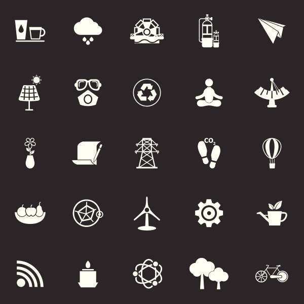 clean concept icons on gray background